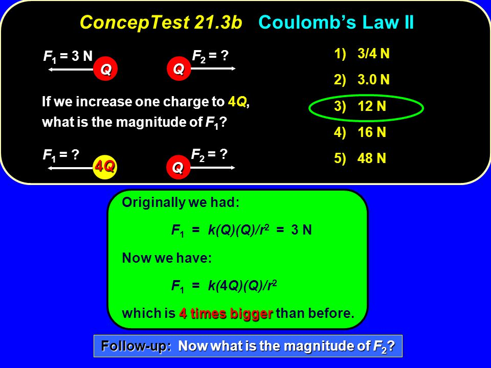 ConcepTest 21.3b Coulomb's Law II