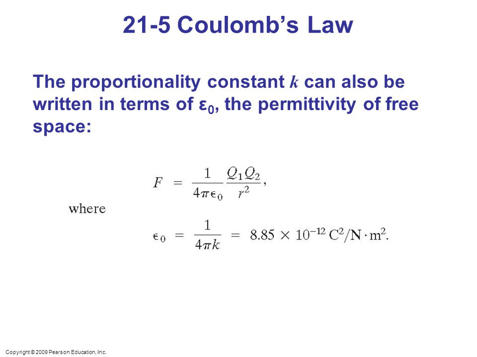 21-5 Coulomb's Law The proportionality constant k can also be written in terms of ε0, the permittivity of free space: