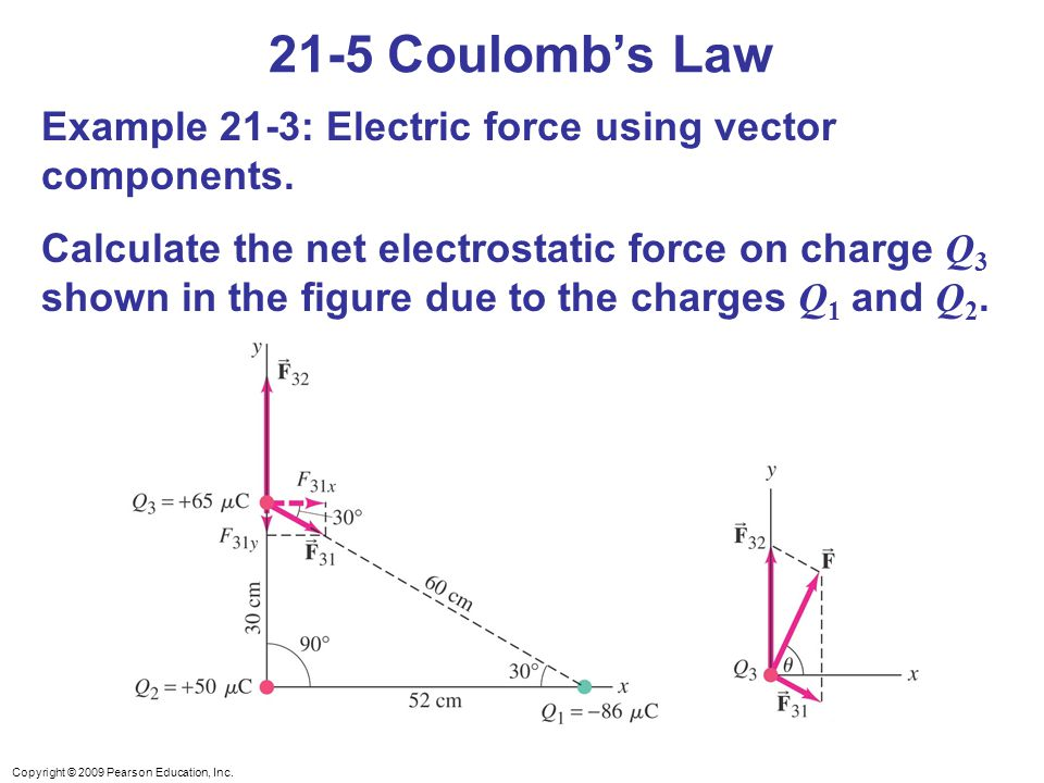 21-5 Coulomb's Law Example 21-3: Electric force using vector components.