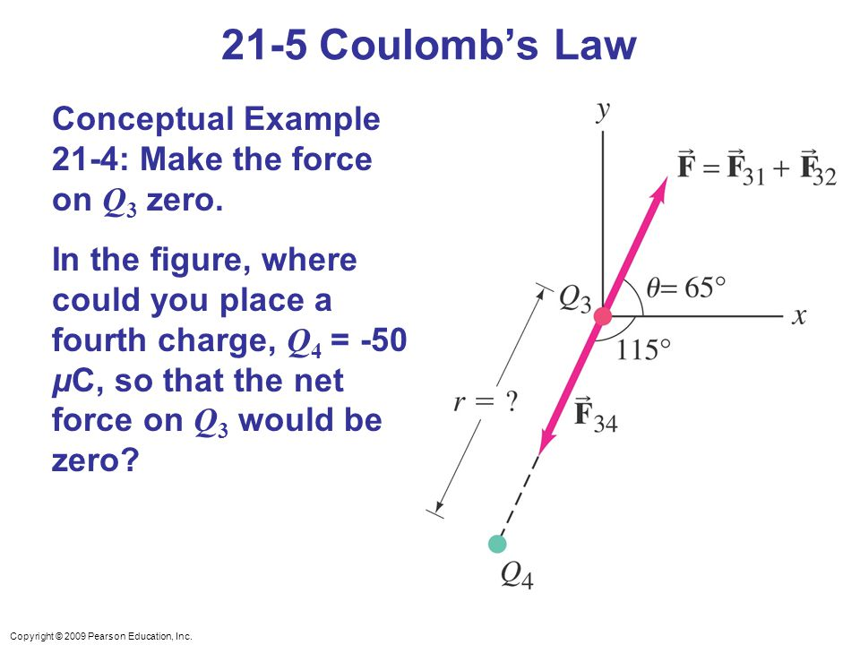 21-5 Coulomb's Law Conceptual Example 21-4: Make the force on Q3 zero.