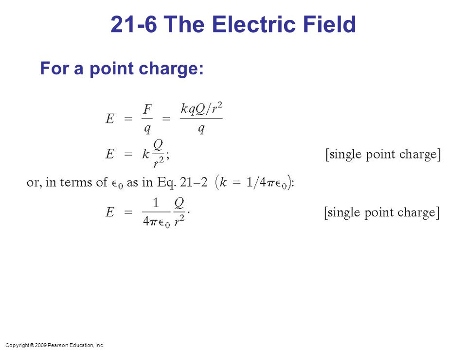 21-6 The Electric Field For a point charge: