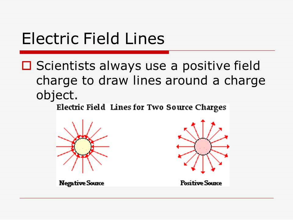 Electric Field Lines Scientists always use a positive field charge to draw lines around a charge object.