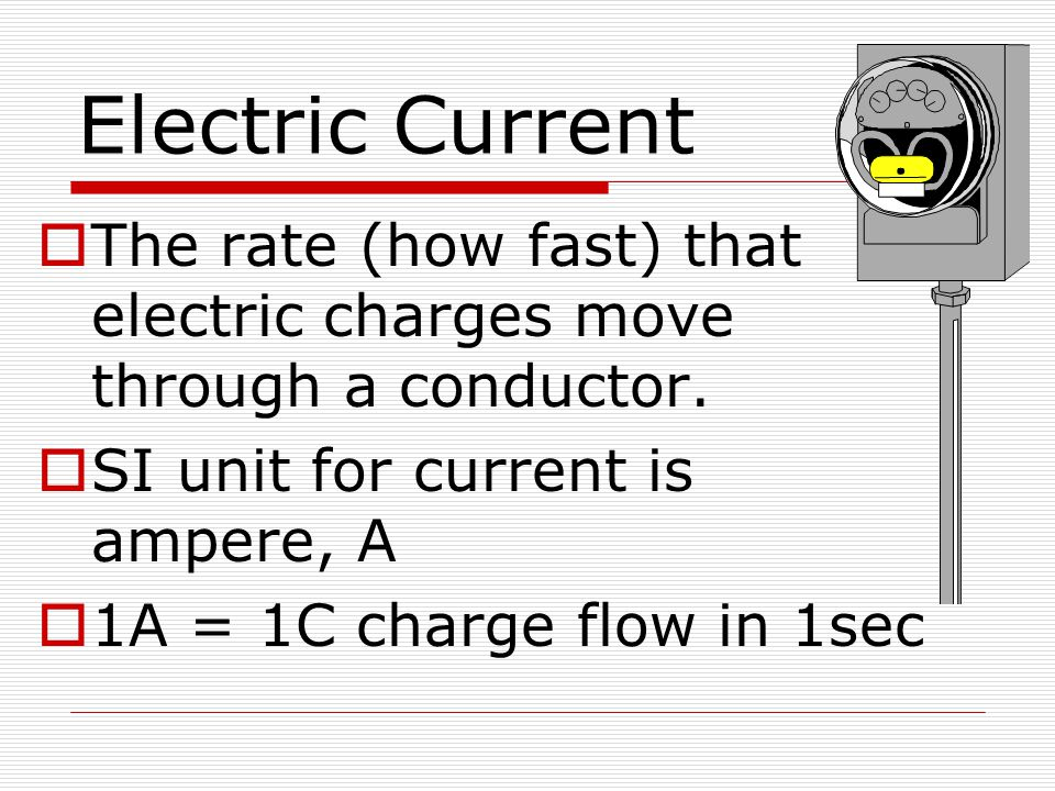 Electric Current The rate (how fast) that electric charges move through a conductor. SI unit for current is ampere, A.