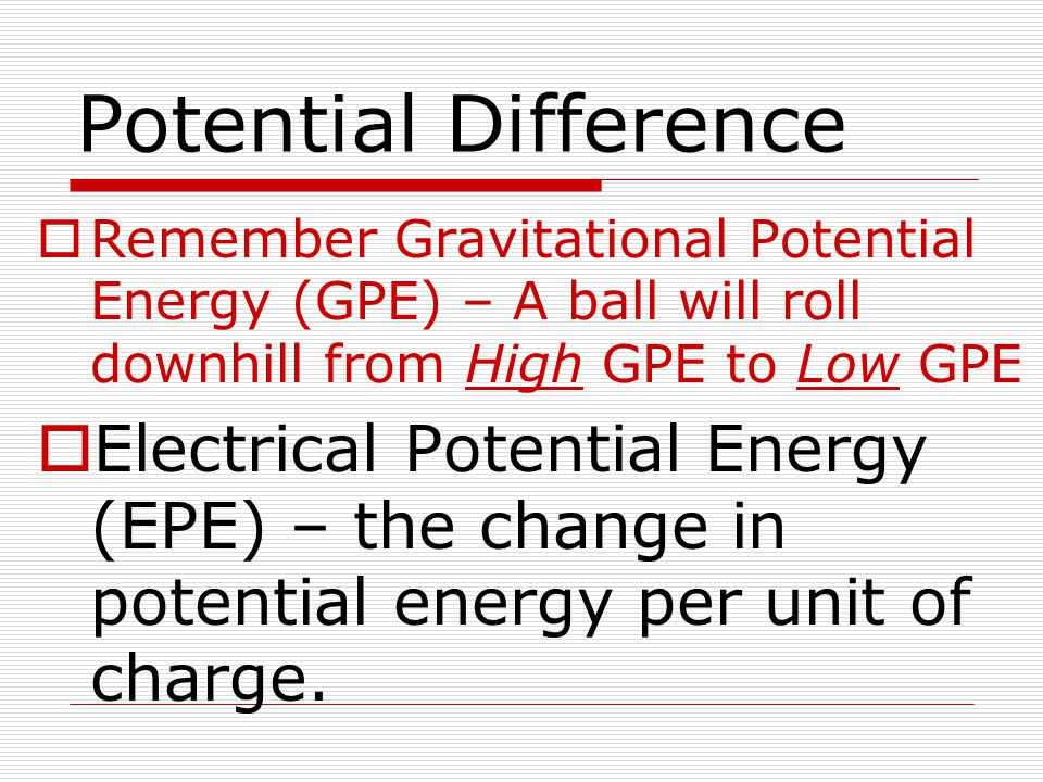 Potential Difference Remember Gravitational Potential Energy (GPE) – A ball will roll downhill from High GPE to Low GPE.