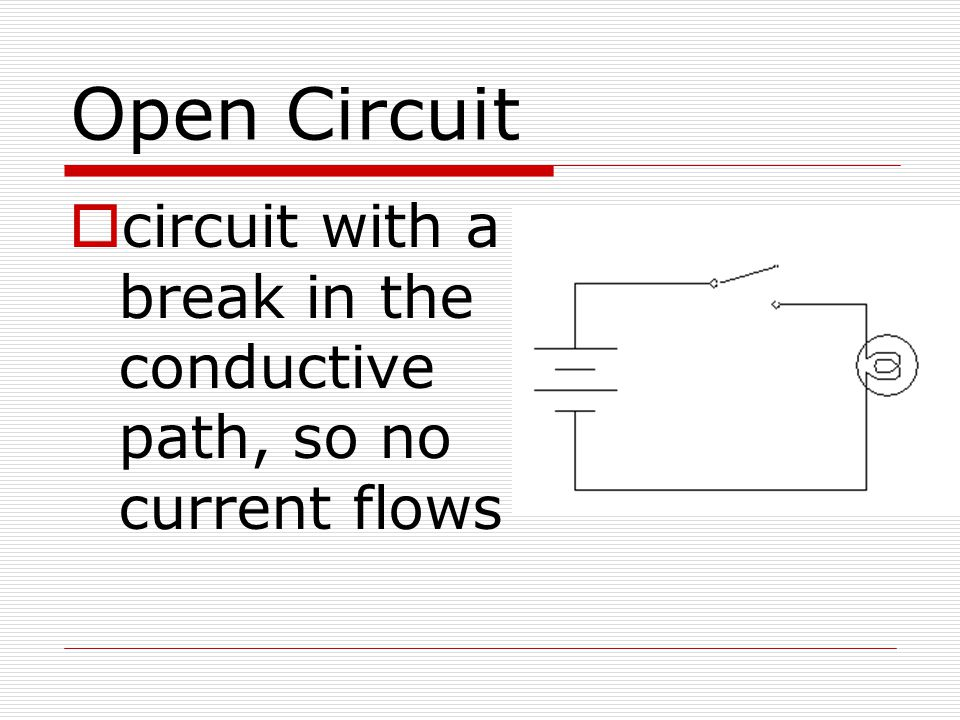 Open Circuit circuit with a break in the conductive path, so no current flows