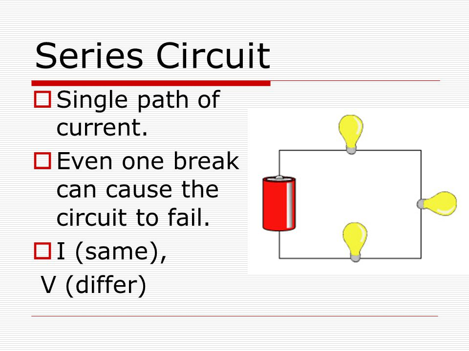 Series Circuit Single path of current.