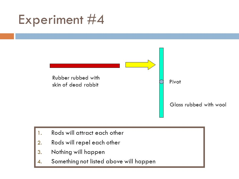 Experiment #4 Rods will attract each other Rods will repel each other