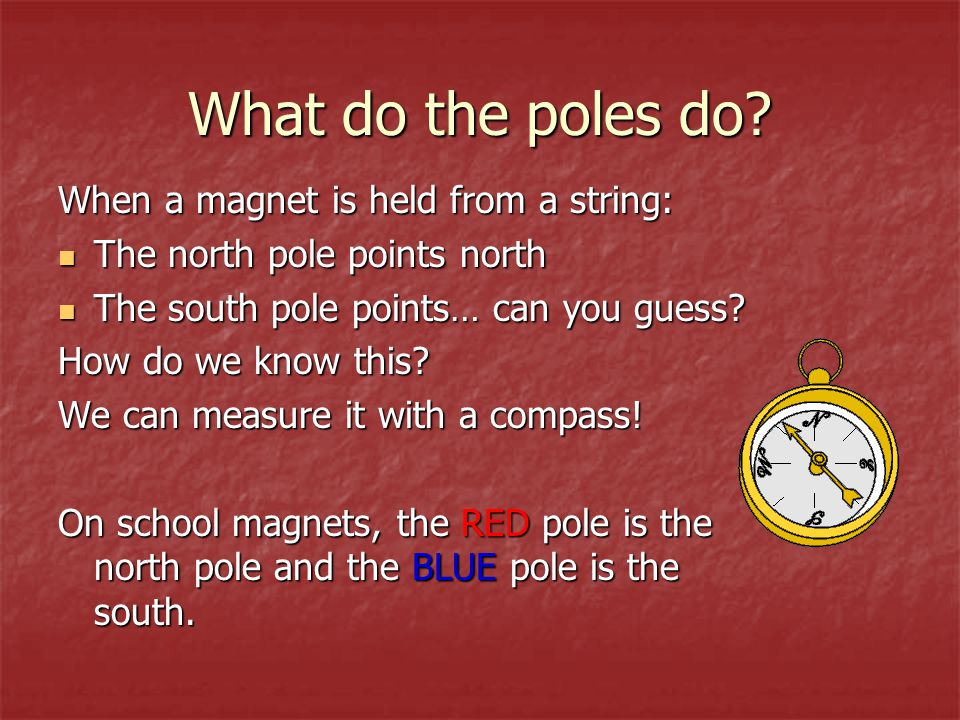 What do the poles do When a magnet is held from a string: