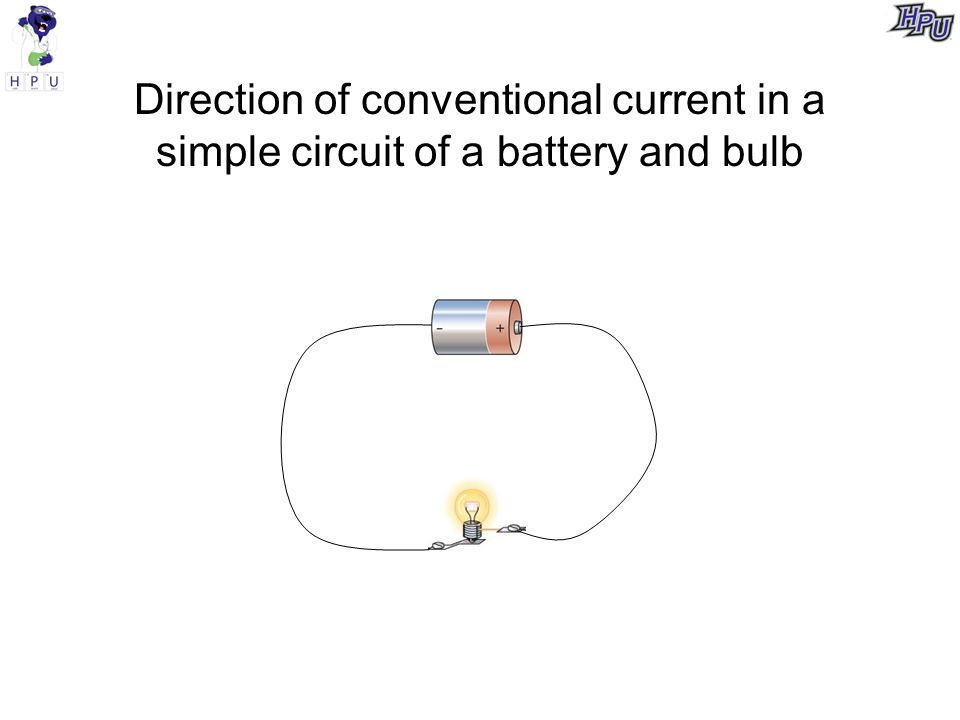 Direction of conventional current in a simple circuit of a battery and bulb