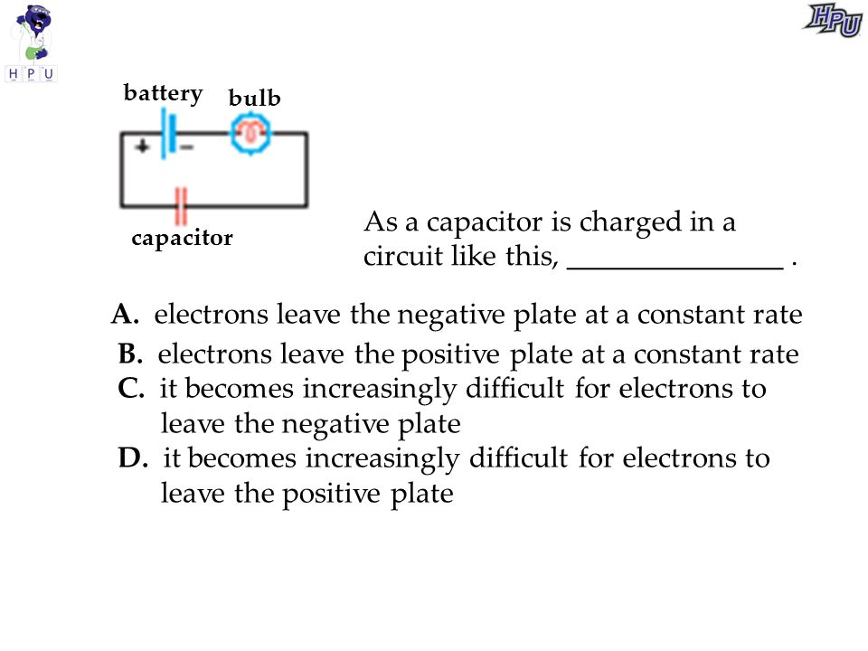 As a capacitor is charged in a circuit like this, _______________ .