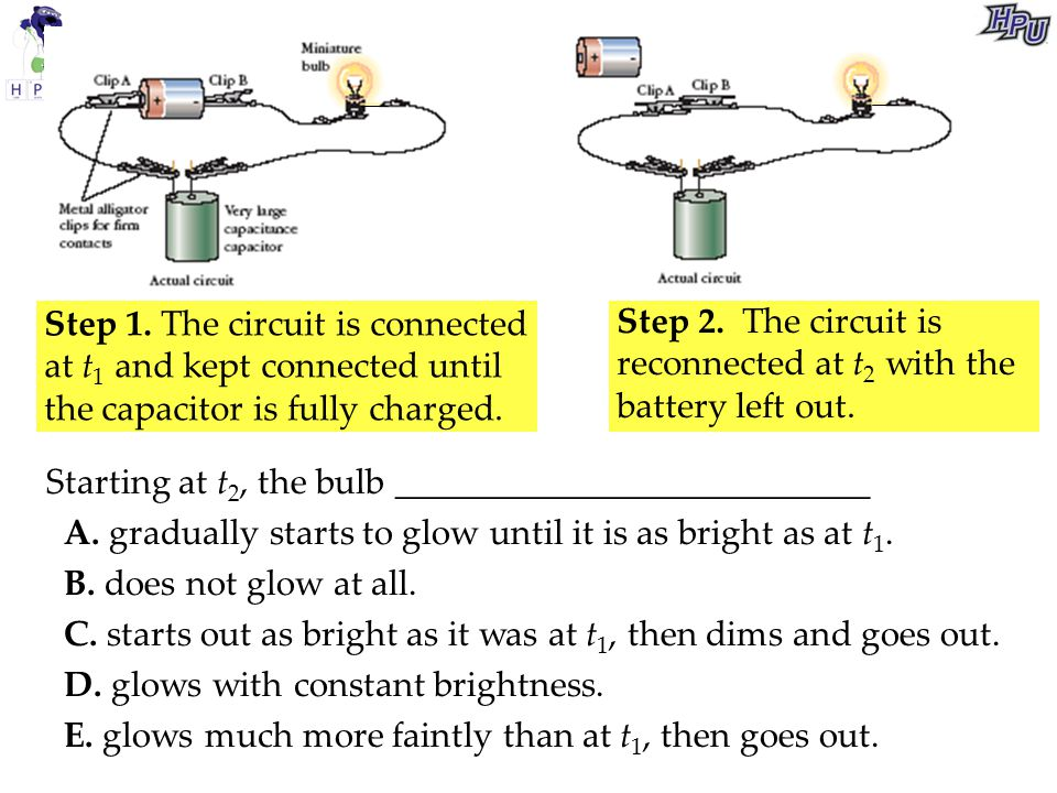Step 1. The circuit is connected at t1 and kept connected until the capacitor is fully charged.