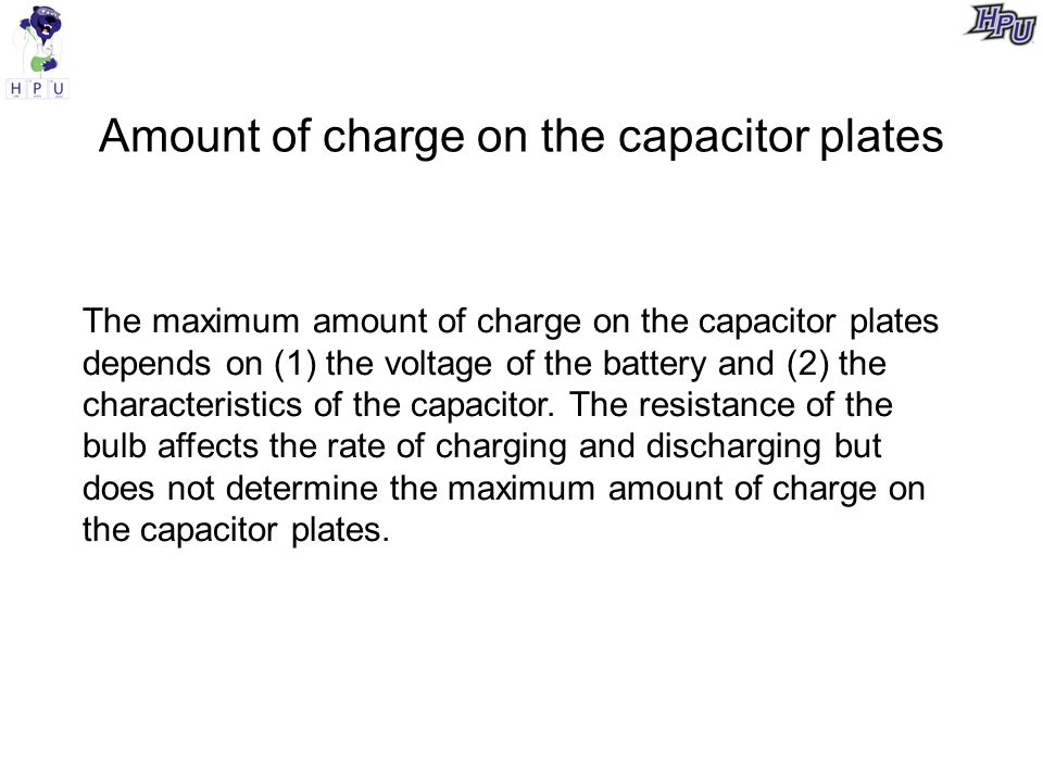 Amount of charge on the capacitor plates