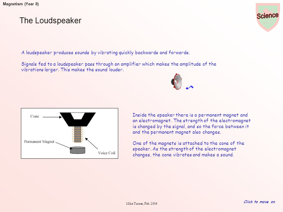 The Loudspeaker A loudspeaker produces sounds by vibrating quickly backwards and forwards.