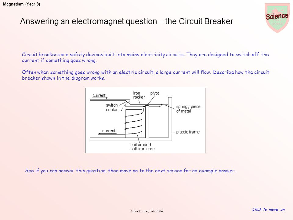 Answering an electromagnet question – the Circuit Breaker