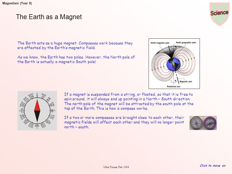The Earth as a Magnet The Earth acts as a huge magnet. Compasses work because they are affected by the Earth's magnetic field.
