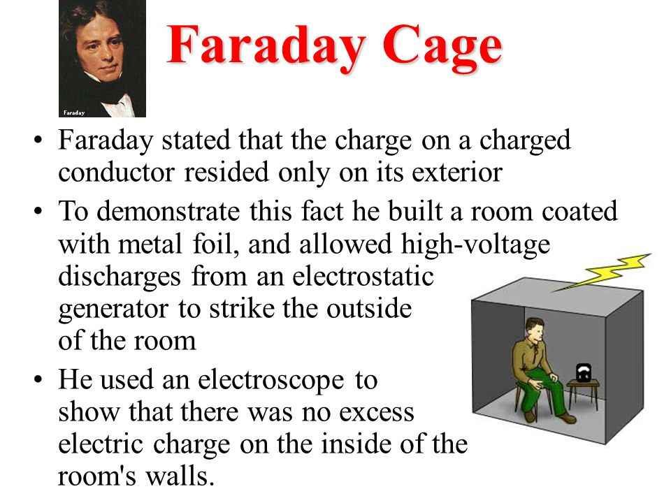 Faraday Cage Faraday stated that the charge on a charged conductor resided only on its exterior.
