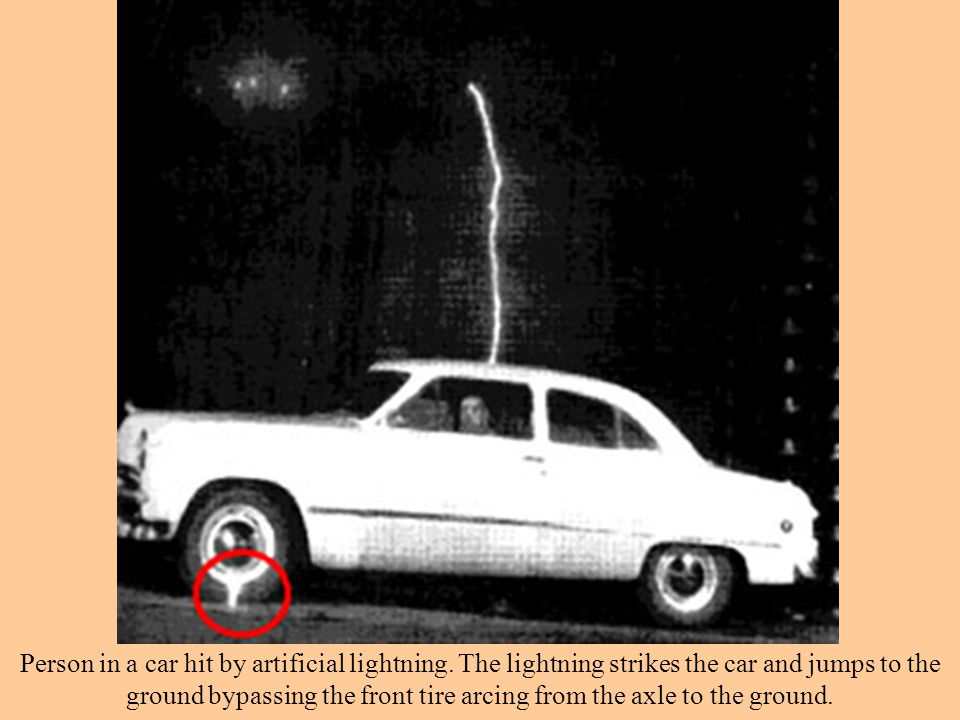 Person in a car hit by artificial lightning