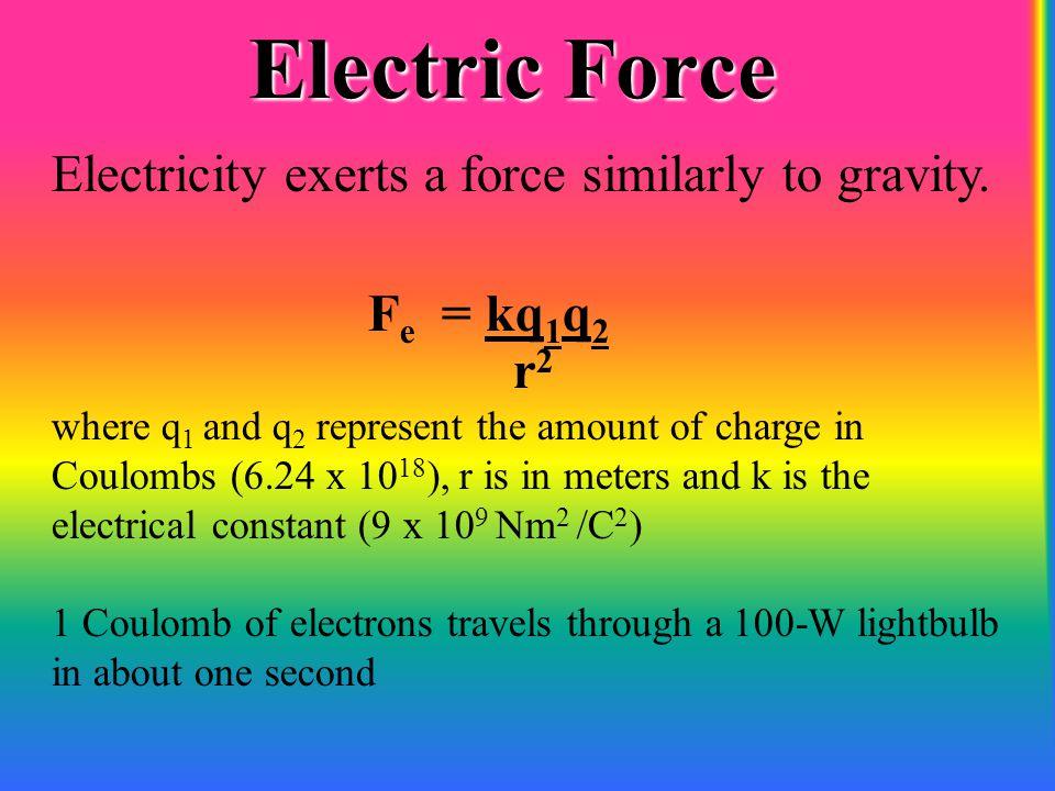 Electric Force Electricity exerts a force similarly to gravity.