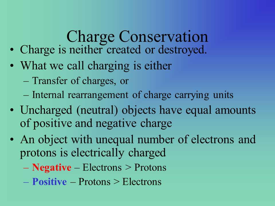 Charge Conservation Charge is neither created or destroyed.