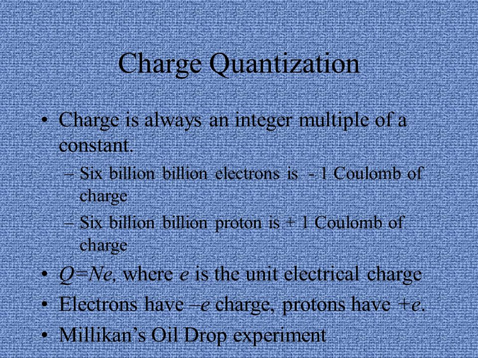 Charge Quantization Charge is always an integer multiple of a constant. Six billion billion electrons is - 1 Coulomb of charge.