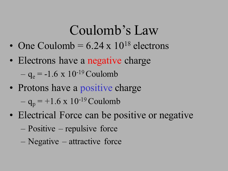 Coulomb's Law One Coulomb = 6.24 x 1018 electrons