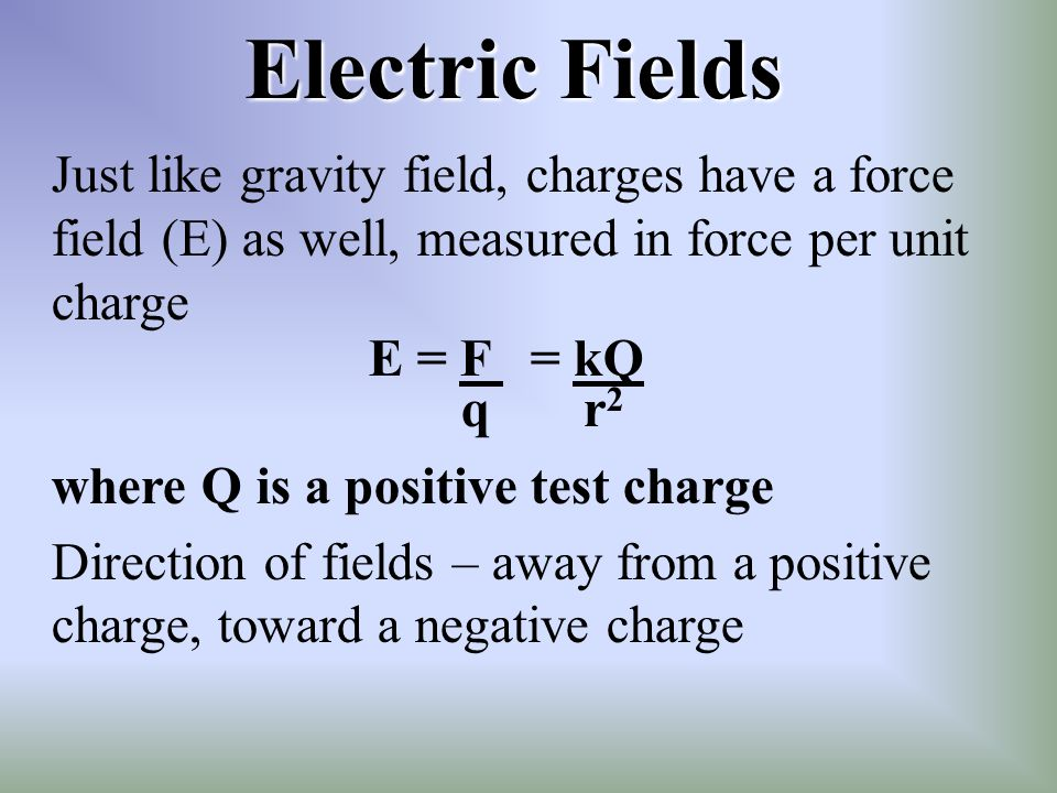Electric Fields Just like gravity field, charges have a force field (E) as well, measured in force per unit charge.