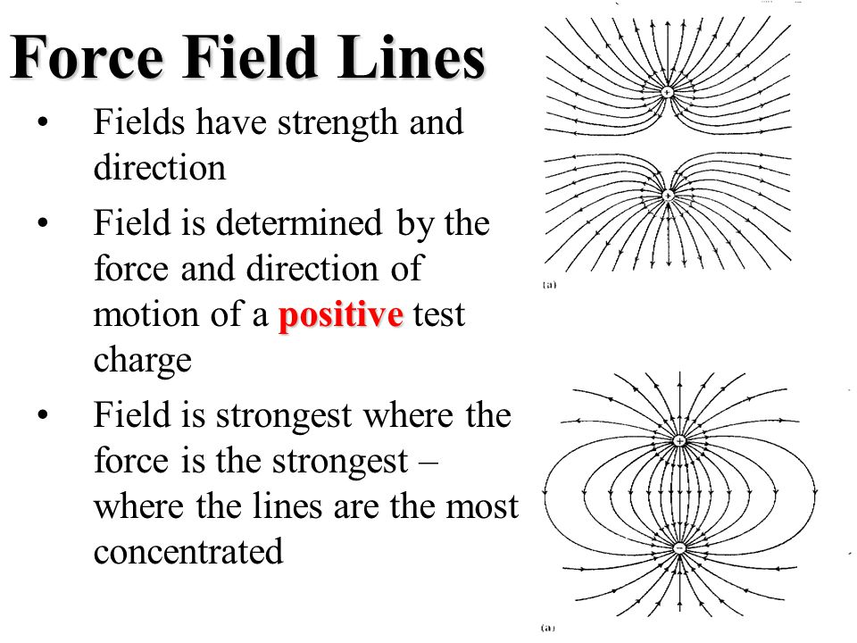 Force Field Lines Fields have strength and direction