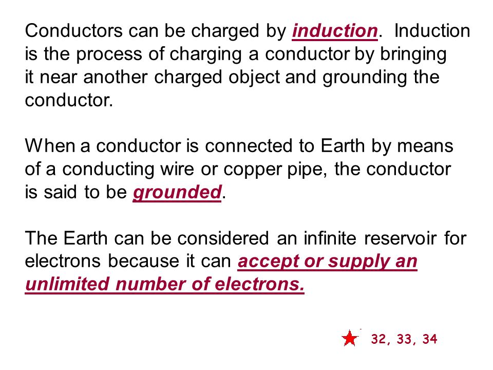 Conductors can be charged by induction. Induction
