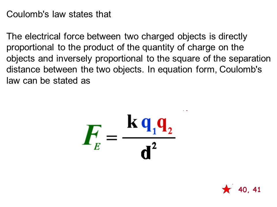Coulomb s law states that