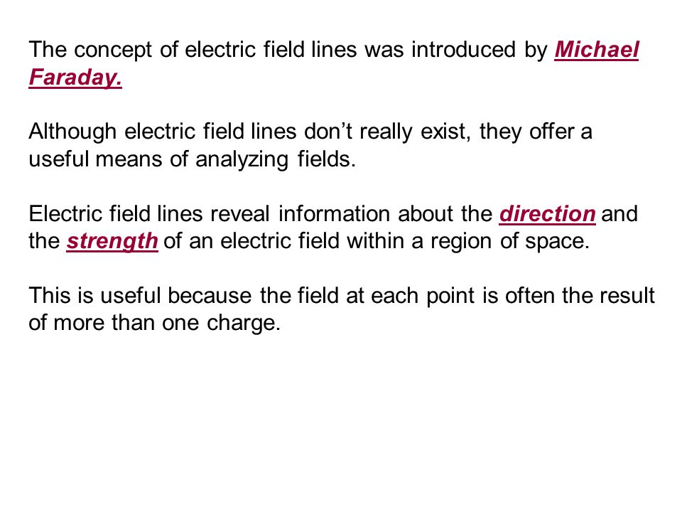 The concept of electric field lines was introduced by Michael Faraday.