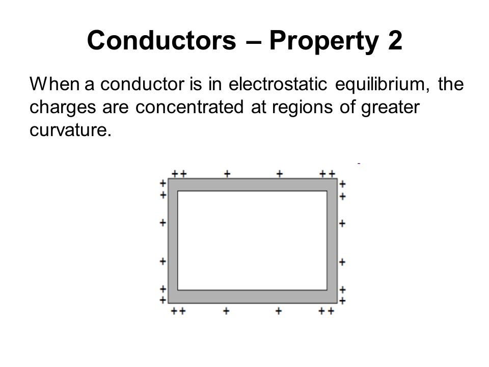 Conductors – Property 2 When a conductor is in electrostatic equilibrium, the. charges are concentrated at regions of greater.
