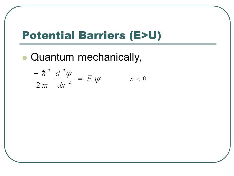 Potential Barriers (E>U)