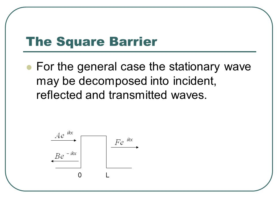 The Square Barrier For the general case the stationary wave may be decomposed into incident, reflected and transmitted waves.