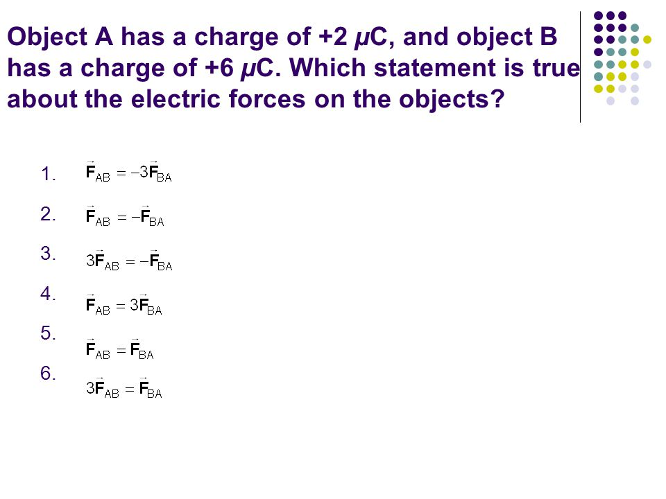 Object A has a charge of +2 µC, and object B has a charge of +6 µC