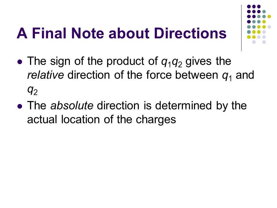 A Final Note about Directions