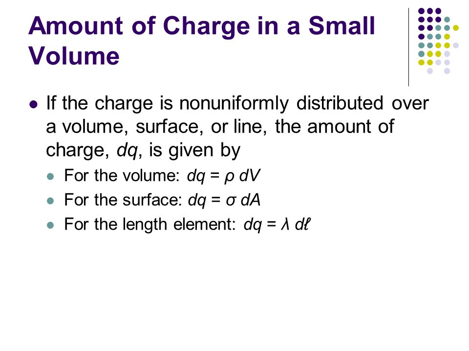 Amount of Charge in a Small Volume