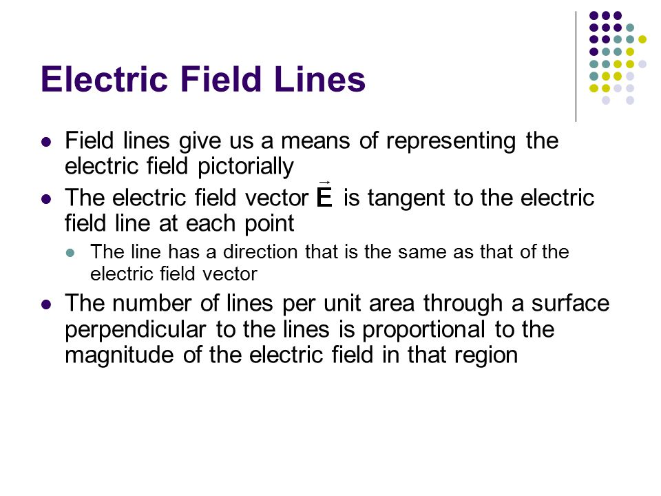 Electric Field Lines Field lines give us a means of representing the electric field pictorially.