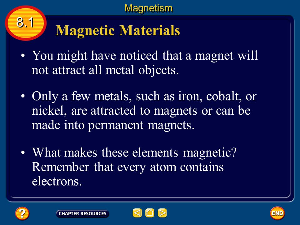Magnetism 8.1. Magnetic Materials. You might have noticed that a magnet will not attract all metal objects.