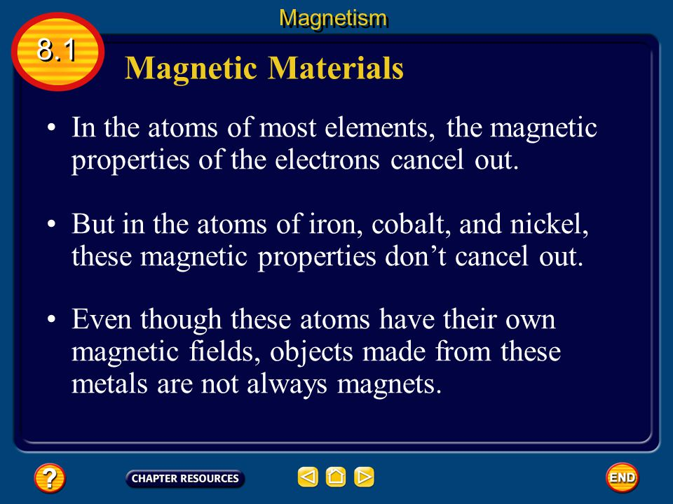 Magnetism 8.1. Magnetic Materials. In the atoms of most elements, the magnetic properties of the electrons cancel out.