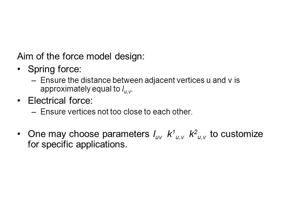 Aim of the force model design: Spring force:
