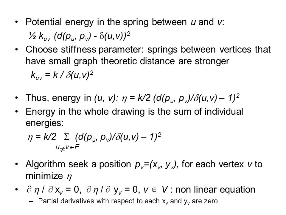 Potential energy in the spring between u and v: