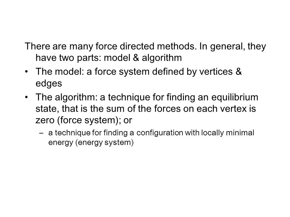 The model: a force system defined by vertices & edges
