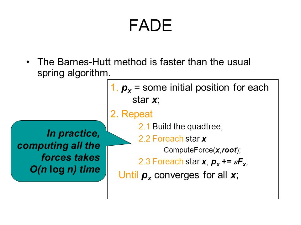 FADE The Barnes-Hutt method is faster than the usual spring algorithm.