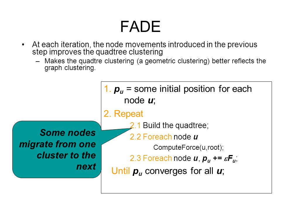 FADE 1. pu = some initial position for each node u; 2. Repeat