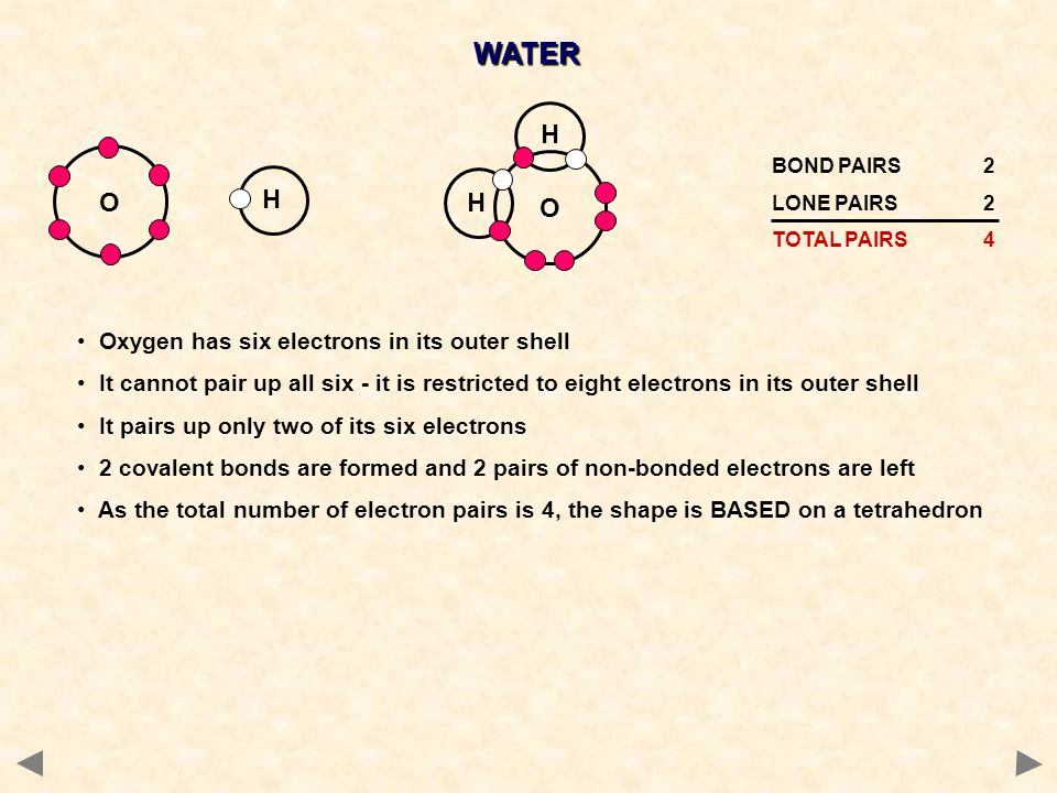 WATER O H O H Oxygen has six electrons in its outer shell
