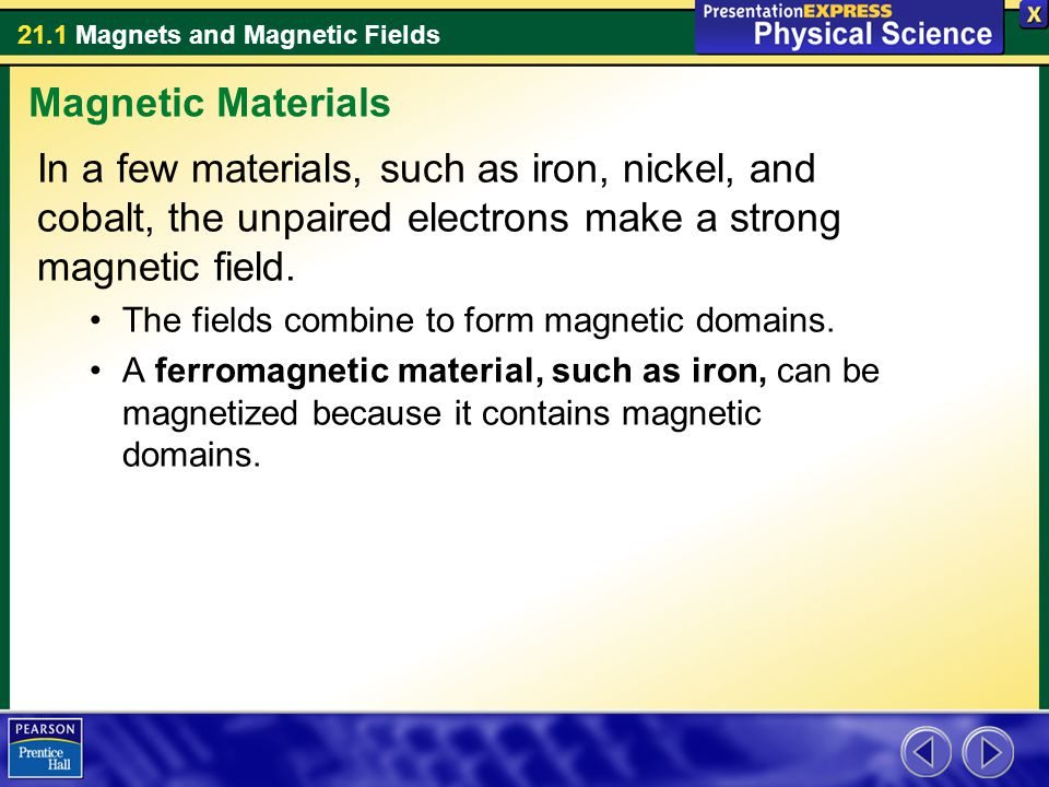 Magnetic Materials In a few materials, such as iron, nickel, and cobalt, the unpaired electrons make a strong magnetic field.
