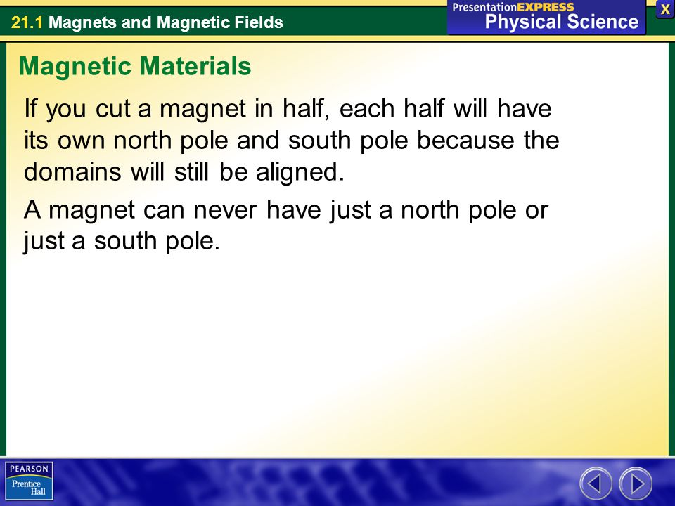 Magnetic Materials If you cut a magnet in half, each half will have its own north pole and south pole because the domains will still be aligned.