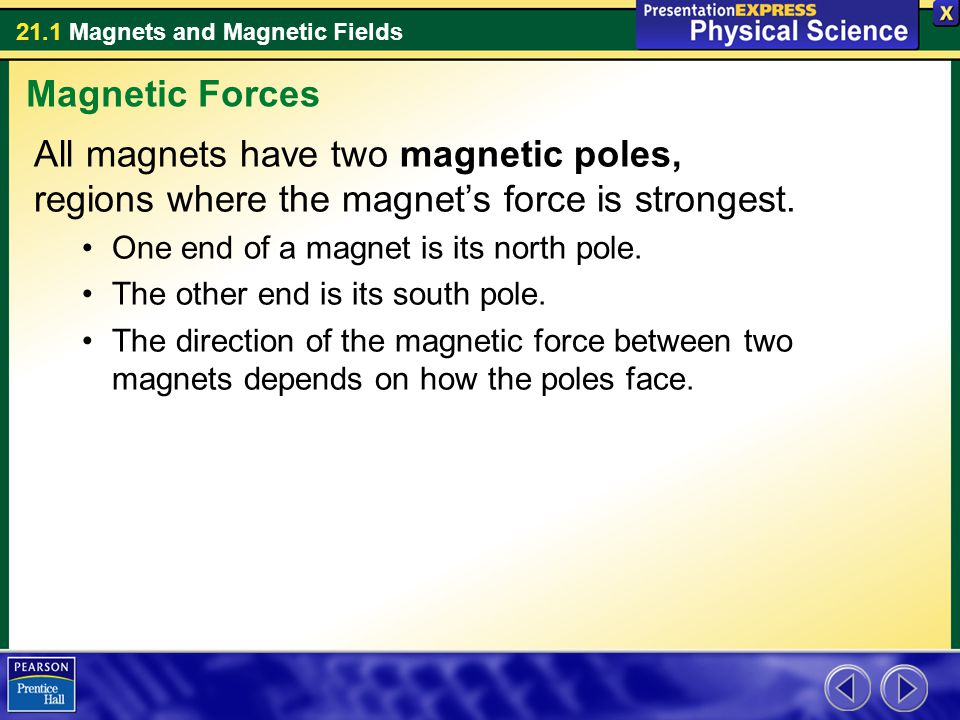 Magnetic Forces All magnets have two magnetic poles, regions where the magnet's force is strongest.