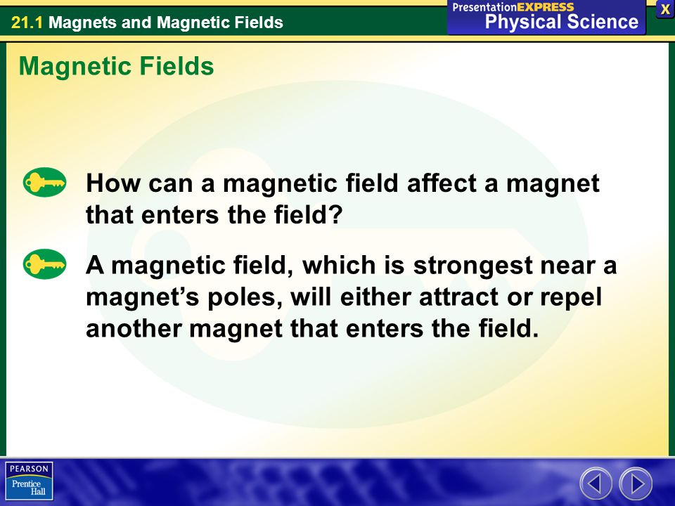 Magnetic Fields How can a magnetic field affect a magnet that enters the field
