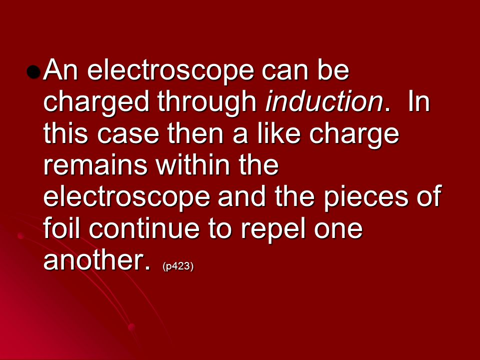 An electroscope can be charged through induction